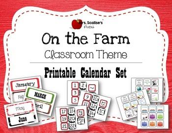 ON THE FARM Classroom Theme PRINTABLE CALENDAR SET