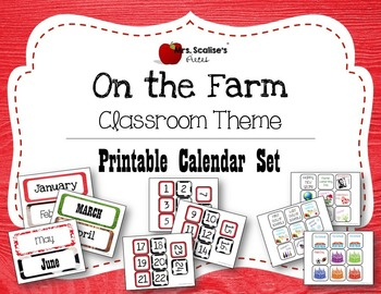 ON THE FARM Classroom Theme PRINTABLE CALENDAR SET