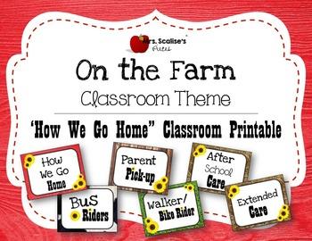 ON THE FARM Classroom Theme PRINTABLE HOW WE GO HOME CHART