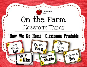 ON THE FARM Classroom Theme PRINTABLE HOW WE GO HOME CHART