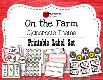 ON THE FARM Classroom Theme PRINTABLE LABEL SET