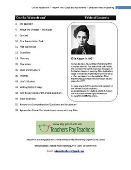 ON THE WATERFRONT - FILM BY ELIA KAZAN WORKSHEETS