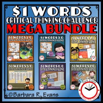 ONE DOLLAR WORDS MEGA BUNDLE Critical Thinking Challenge Math ELA Research GATE