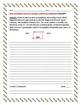 ONE HUNDRED DAYS OF SCHOOL WRITING/ RESEARCH PROMPT