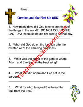 ONE IN CHRIST Creation and the First Sin aligned quiz and memory verse material