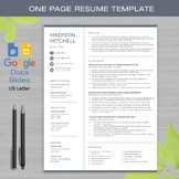 ONE PAGE RESUME Template Google Docs and Google Slides + Educator Writing Guide