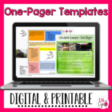 ONE PAGER TEMPLATES   DIGITAL & PRINTABLE   DISTANCE LEARNING