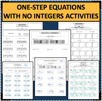 ONE STEP EQUATIONS Algebra Without Integers Differentiated Activities
