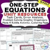 ONE-STEP EQUATIONS Task Cards, Error Analysis, Word Problems, Homework, Puzzles