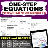 ONE-STEP EQUATIONS Practice | Skills Fluency & Word Problems | Print or Digital