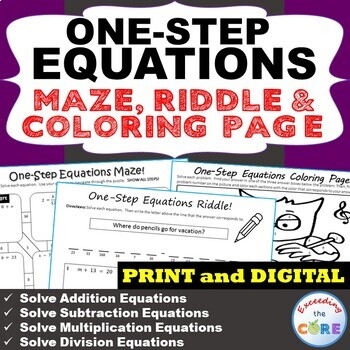 ONE-STEP EQUATIONS Maze, Riddle & Color by Number Coloring