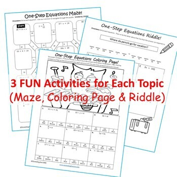ONE-STEP EQUATIONS Maze, Riddle & Color by Number (Fun MATH Activities)
