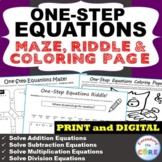 Distance Learning ONE-STEP EQUATIONS Maze, Riddle & Color by Number Page