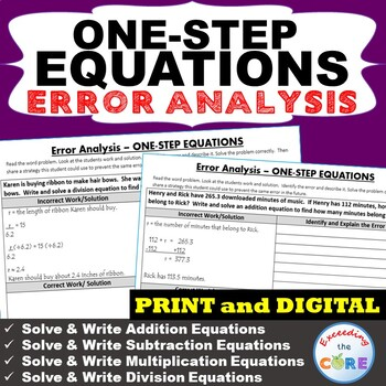 ONE-STEP EQUATIONS Word Problems - Error Analysis  (Find the Error)