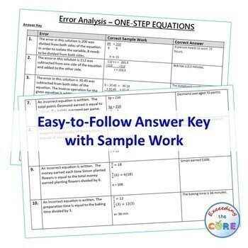 ONE-STEP EQUATIONS Word Problem Error Analysis Find the Error (Print or Digital)