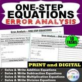 ONE-STEP EQUATIONS Word Problem Error Analysis Find the Error | PRINT OR DIGITAL