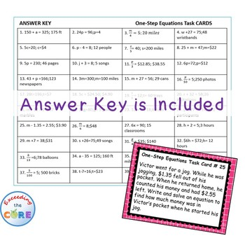 ONE-STEP EQUATIONS  Word Problems - Task Cards {40 Cards}