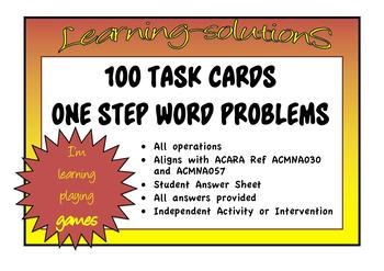 ONE STEP MATHS PROBLEMS - 100 Task Cards