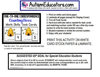"""ONE-TO-ONE CORRESPONDENCE Counting Bees Task Cards """"Task Box Filler"""" for Autism"""