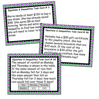 EQUATIONS & INEQUALITIES Word Problems - Task Cards {40 Cards}