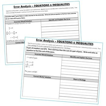EQUATIONS & INEQUALITIES  -  Error Analysis  (Find the Error)