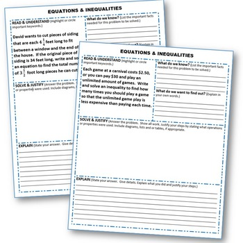 EQUATIONS & INEQUALITIES Word Problems with Graphic Organizer