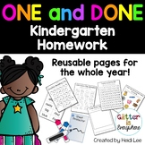 ONE and DONE: Kindergarten Homework or Morning Work (Reusable and Editable!)