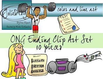 ONG Ending Phonics Clip Art Set - Color and Line Art 10 pc set