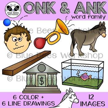 ONK, ANK Word Family Clip Art