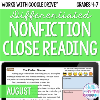 August ONLINE Differentiated Nonfiction Close Reading Texts and Activities