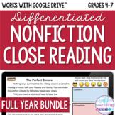 ONLINE Differentiated Nonfiction Close Reading GROWING Bundle {August-June}