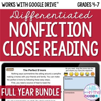 ONLINE Differentiated Nonfiction Close Reading Bundle {August-June}