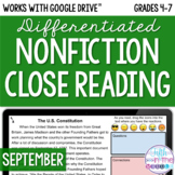 September ONLINE Differentiated Nonfiction Close Reading T