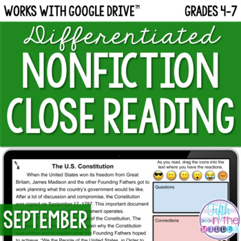 September ONLINE Differentiated Nonfiction Close Reading Texts and Questions