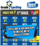 FREE ONLINE 5th Grade Spelling & Vocabulary | 30 Weeks-Daily Lessons Games Tests