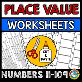 TENS AND ONES PLACE VALUE WORKSHEETS 1ST GRADE ACTIVITIES (BASE TEN BLOCKS)