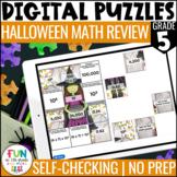 Halloween Math Review Digital Puzzles | 5th Grade | NBT Standards