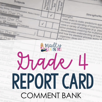 ONTARIO: Grade 4 Report Card Comment Bank