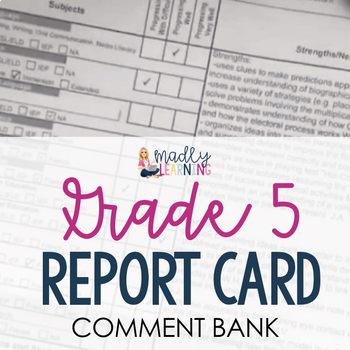 ONTARIO: Grade 5 Report Card Comment Bank