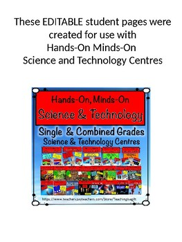 ONTARIO SCIENCE: EDITABLE PAGES FOR HANDS-ON, MINDS-ON SCIENCE STUDENT BOOKLETS