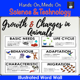 ONTARIO SCIENCE: GR. 2 GROWTH AND CHANGES IN ANIMALS ILLUSTRATED WORD WALL CARDS