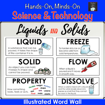 ONTARIO CURRICULUM SCIENCE: GRADE 2 LIQUIDS & SOLIDS ILLUSTRATED WORD WALL CARDS