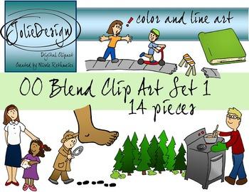 OO Blend Phonics Clip Art Set 1 - Color and Line Art 14 pc set