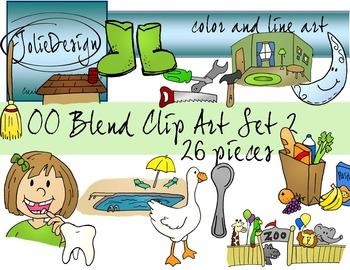 OO Blend Phonics Clip Art Set 2 - Color and Line Art 26 pc set
