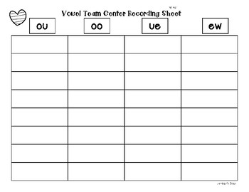 OO, OU, UE and EW Vowel Team Sorting Center and Recording Sheet