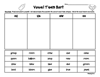 OO, UE, EW and OU Vowel Team Sorting Worksheet