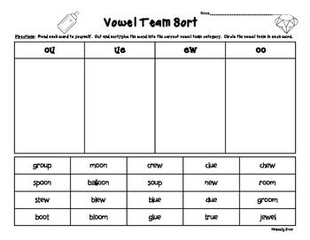 OO, UE, EW and OU Vowel Team Sorting Worksheet