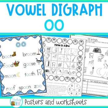 Worksheet Words With Oo Sound Like Book oo vowel digraph worksheets and posters by teaching trove tpt posters