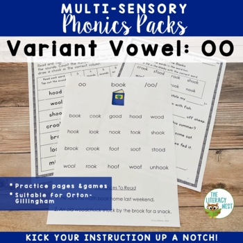 OO Vowel Digraph Word Work Multisensory Phonics Activities Orton-Gillingham