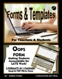 "OOOPS FORM TEMPLATE (Word) ""Form for Submission of Late Work"""